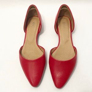 J. Jill | D'Orsay Red Leather Pointed Toe Flats